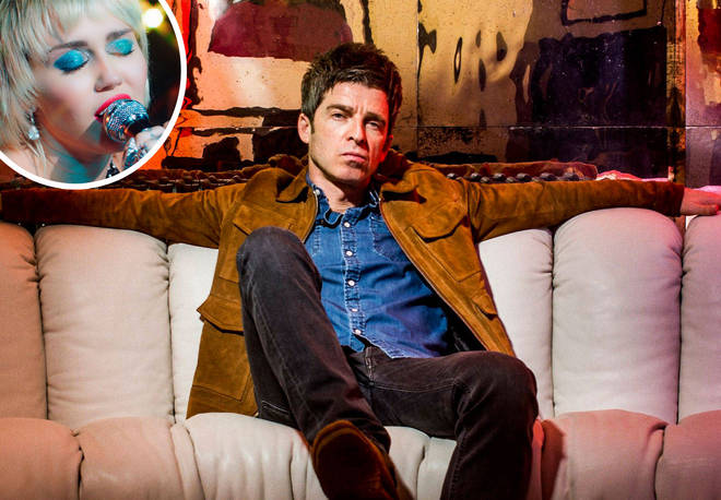 Noel Gallagher with an image Miley Cyrus inset