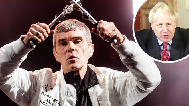 The Stone Roses Ian Brown with image of Prime Minister Boris Johnson inset