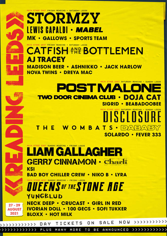 Reading and Leeds Festivals 2021 line-up poster