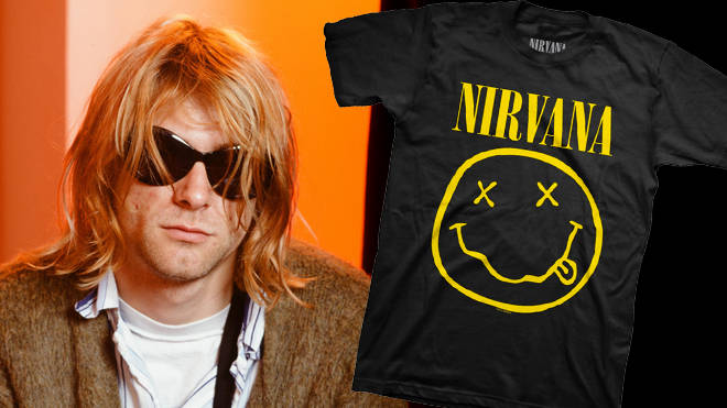 Kurt Cobain in Japan in 1992 and the infamous Nirvana Smiley Face t-shirt