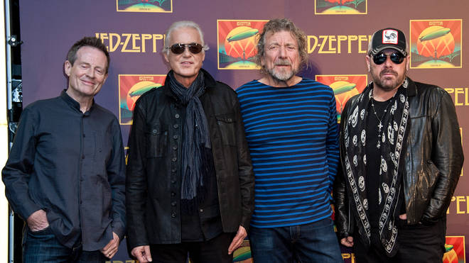John Paul Jones, Jimmy Page, Robert Plant and Jason Bonham attend the Led Zeppelin: Celebration Day press conference at the Museum of Modern Art on October 9, 2012 in New York City.