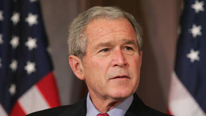US President George W. Bush speaks prior