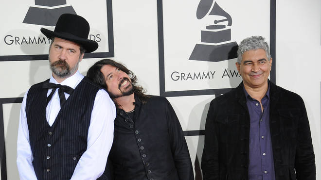 Former Nirvana members Kris Novoselic, Dave Grohl and Pat Smear at the 2014 GRAMMY Awards