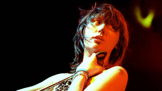 Karen O onstage with Yeah Yeah Yeahs in August 2003