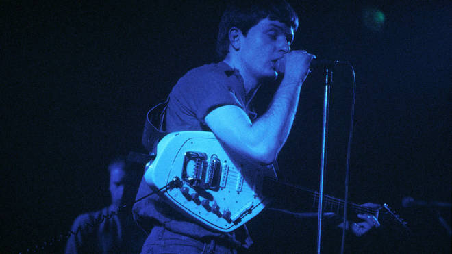 Ian Curtis playing the Vox Phantom Special VI guitar at Joy Division's high-profile show at London's Lyceum in February 1980