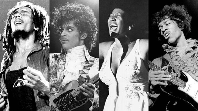 Bob Marley, Prince, Aretha Franklin, Jimi Hendrix