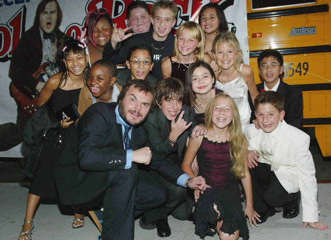 Jack Black and the cast of School of rock on 24 September 2003
