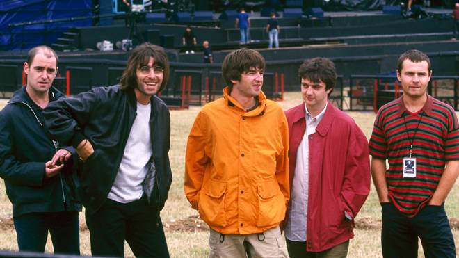 Oasis before their show at Knebworth, August 1996: aul 'Bonehead' Arthurs, Liam Gallagher, Noel Gallagher, Paul 'Guigsy' McGuigan and Alan White