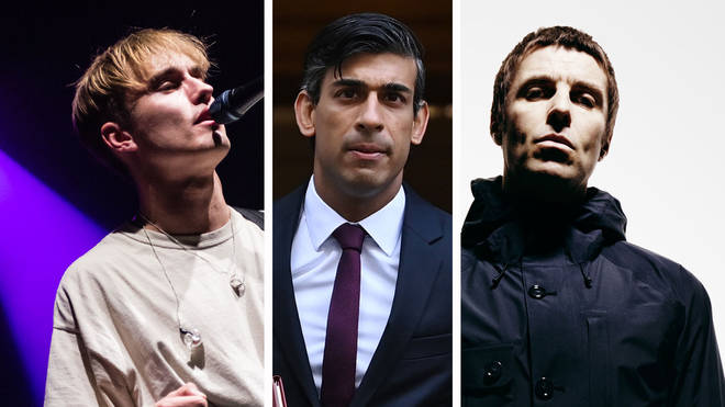 Sam Fender, Britain's Chancellor of the Exchequer Rishi Sunak and Liam Gallagher