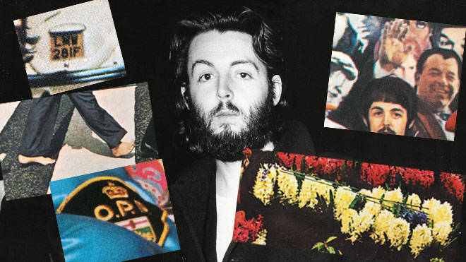 "Paul McCartney in February 1969 and some of the ""Paul Is Dead"" clues from Beatles album covers"