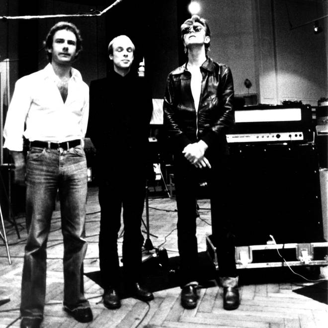 "Robert Fripp, Brian Eno and David Bowie in Hansa&squot;s Tonstudio during the making of ""Heroes"", summer 1977"