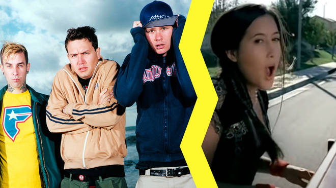 Classic Blink 182 line-up of Travis Barker, Mark Hoppus and Tom DeLonge with Vanessa Carlton