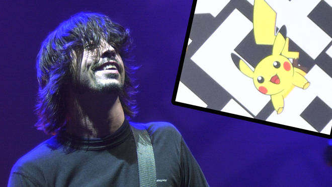 Foo Fighters' Dave Grohl in 2002 with Pokemon character Pikachu inset