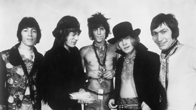 The Rolling Stones in 1968: Bill Wyman, Mick Jagger, Keith Richards, Brian Jones, Charlie Watts