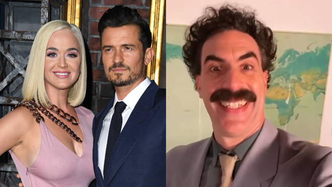 Katy Perry and Orlando Bloom with Borat's birthday message