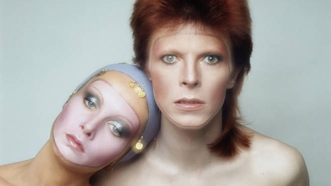English model Twiggy poses with David Bowie in Paris for the cover of his Pin Ups album, 1973.