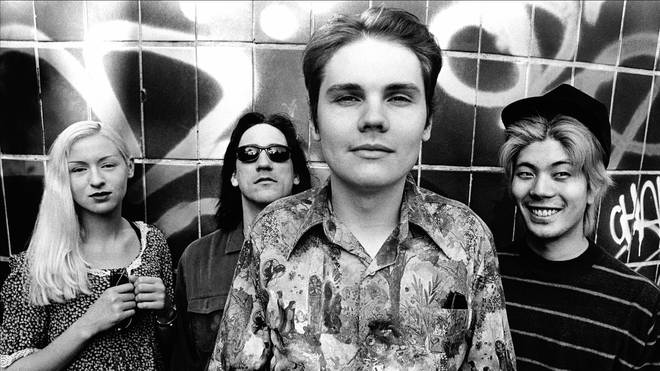 The Mellon Collie line up of Smashing Pumpkins, photographed in July 1993: D'Arcy, Jimmy Chamberlin, Billy Corgan and James Iha