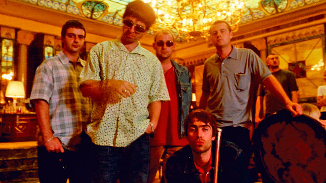 Oasis in Milan, 1997: Noel Gallagher, Liam Gallagher, Paul 'Bonehead' Arthurs, Alan White, Paul 'Guigsy' McGuigan