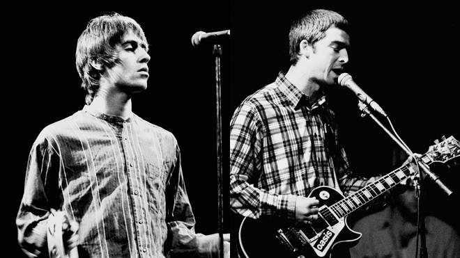 Liam and Noel Gallagher performing at the Paradiso in Amsterdam, November 1994