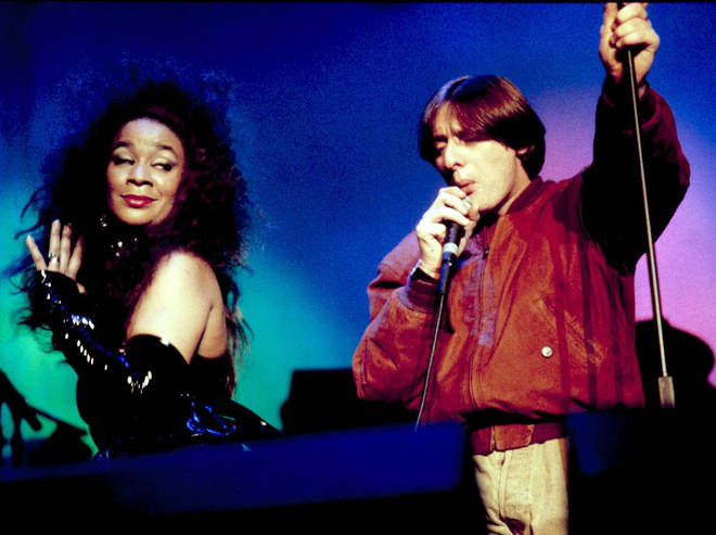 Rowetta and Shaun Ryder performing with Happy Mondays at the Birmingham NEC, March 1990