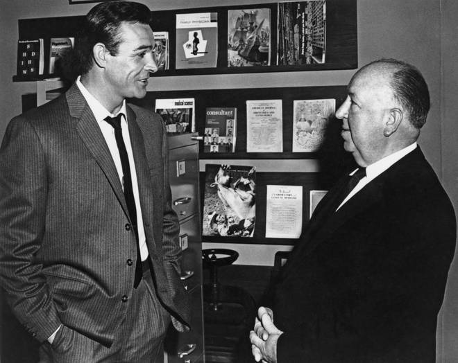 Sean Connery and Alfred Hitchcock during the making of Marnie in February 1964