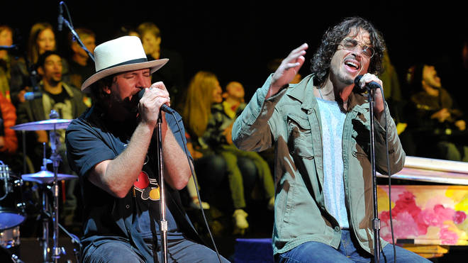 Eddie Vedder and Chris Cornell at the 28th Annual Bridge School Benefit Concert - Day 2