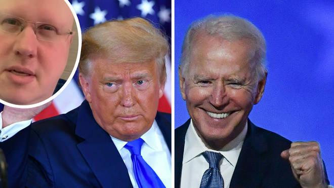 President Donald Trump and Joe Biden with a photo of Matt Lucas inset