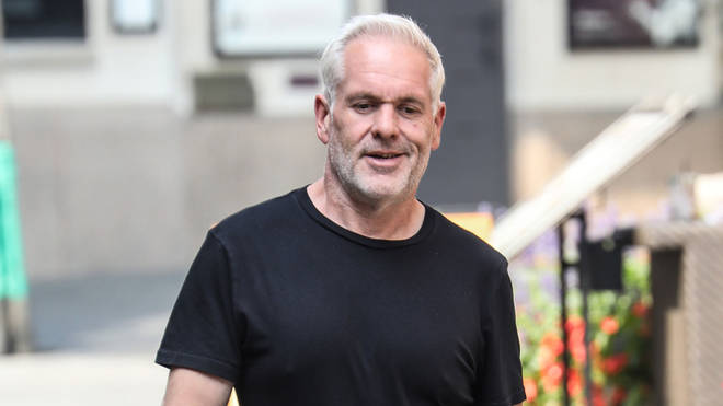 Chris Moyles walks to Global in Leicester square