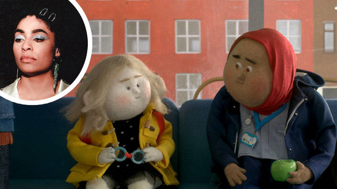 A still from the John Lewis Christmas advert with Celeste inset