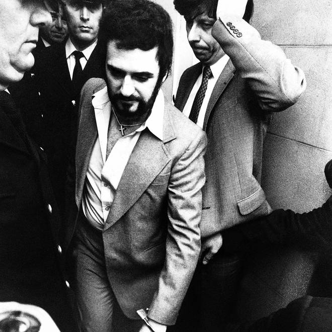 Peter Sutcliffe the Yorkshire ripper handcuffed leaving court on 5 January 1981