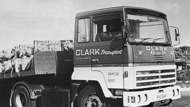 Peter Sutcliffe sitting in the cab of his lorry at the Bradford engineering firm TW Clark, where he was a driver