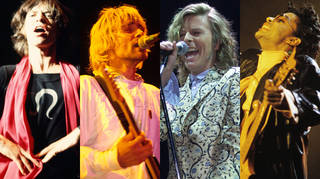 Mick Jagger in 1969, Kurt Cobain in 1992, David Bowie in 2000 and Prince in 1987