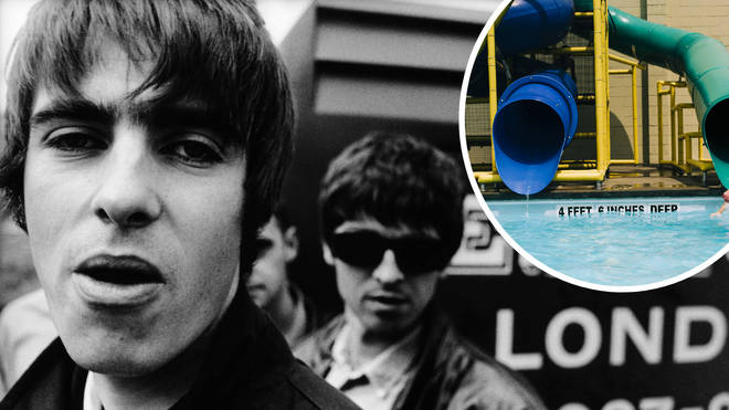 Oasis rockers Liam Gallagher and Noel Gallagher in 1994 with stock image of leisure centre inset