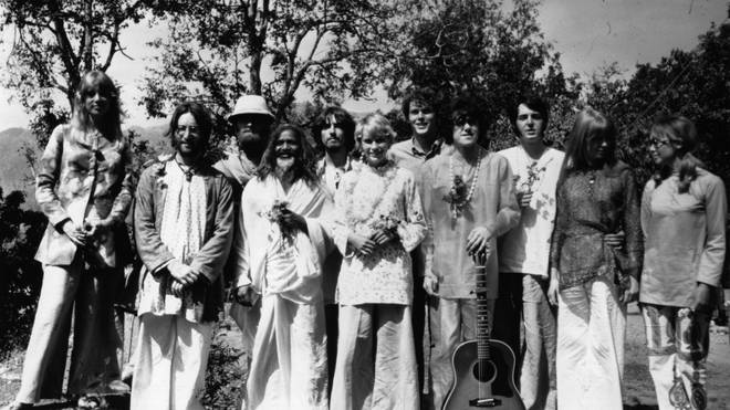 The Beatles and friends at the retreat of the Mahareshi Mahesh Yogi in India, March 1968