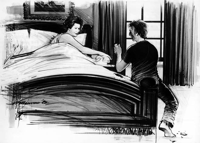 An artist's impression from July 1982 of Buckingham Palace intruder Michael Fagan sat at the end of the Queen's bed.