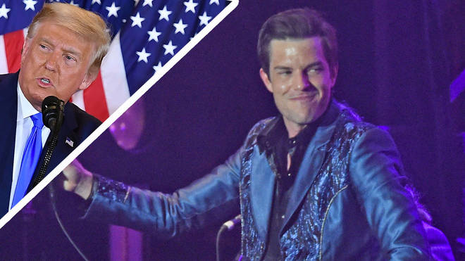 The Killers' Brandon Flowers with President Donald Trump inset