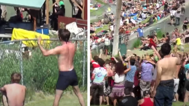 Man prompts dance party at a 2009 festival