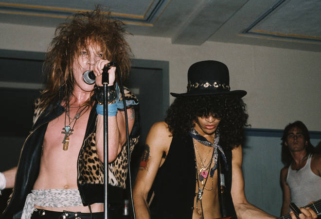 "21 July 1985: Axl Rose and Slash of the rock band ""Guns n&squot; Roses"" perform onstage at a UCLA frat party."
