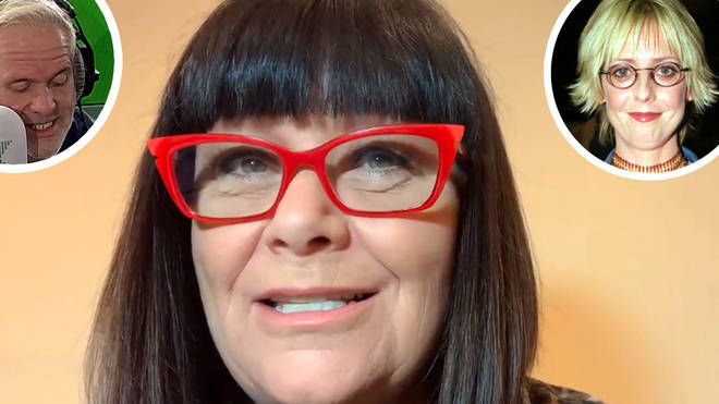 Dawn French talks to Chris Moyles with photo of Emma Chambers inset