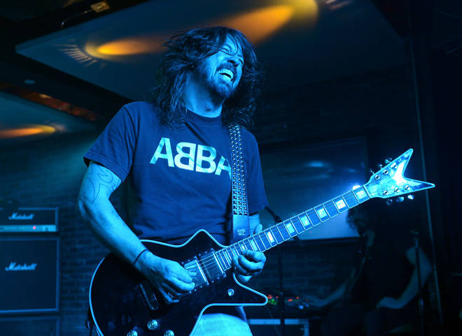 Dave Grohl on stage with Foo Fighters in January 2016