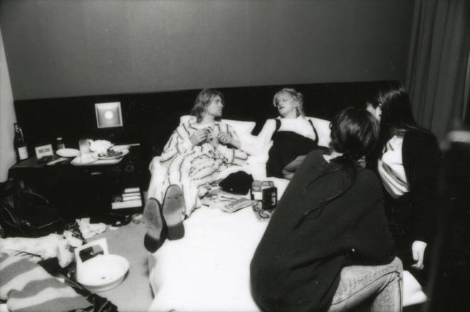 Kurt and Courtney lying in bed in Roppongi Prince Hotel in Tokyo, Japan, during an interview, 19th December 1992