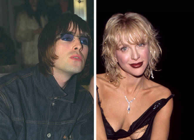 Oasis rocker Liam Gallagher in 2000 and Courtney Love in 2000