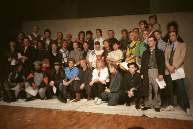 The performers of the original Band Aid single in November 1984