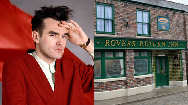 Morrissey in 1985 and the current Coronation Street set