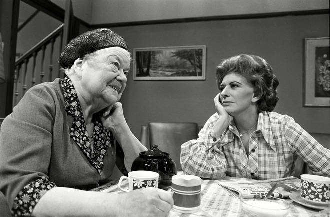 Two of Morrissey's Coronation St heroines on set in 1980: Violet Carson as Ena Sharples and Pat Phoenix as Elsie Tanner