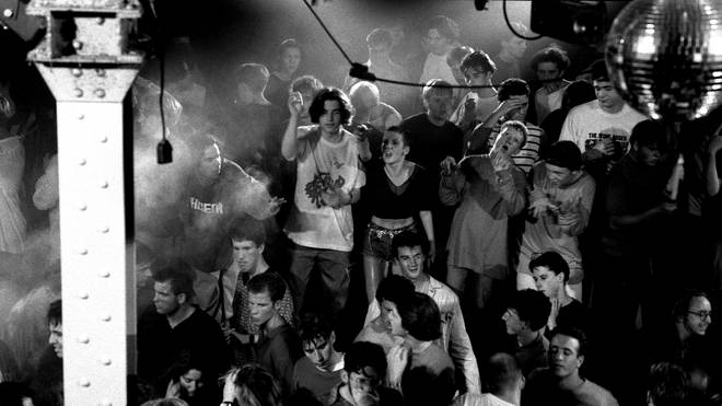 Ravers on the main stage in the Hacienda, Manchester 1989.