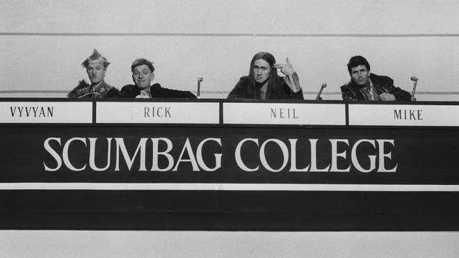 The Young Ones in the episode Bambi, 1984: drian Edmondson, Rik Mayall, Nigel Planner and Christopher Ryan