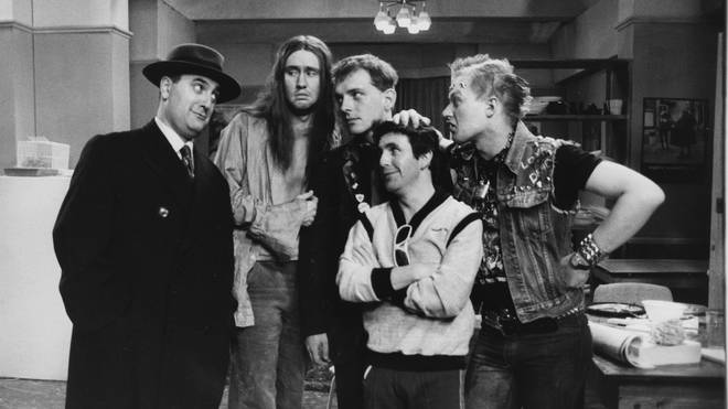 Alexei Sayle, Nigel Planner, Rik Mayal, Christopher Ryan and Adrian Edmondson in the very first episode of The Young Ones in 1982
