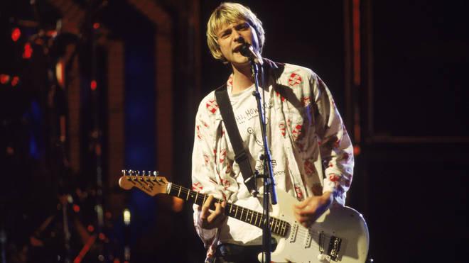 Kurt Cobain performing with Nirvana in September 1992