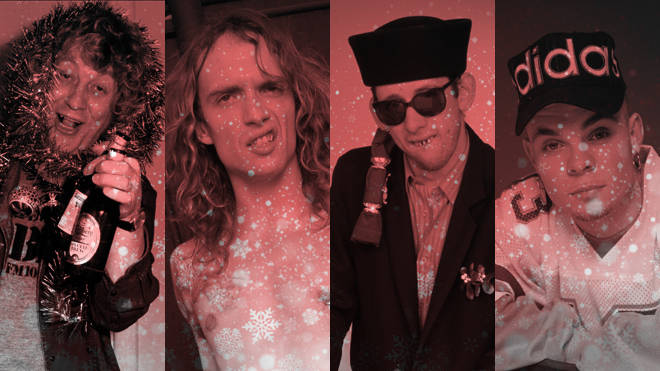 Classic Christmas musicians: Noddy Holder, Justin Hawkins, Shane MacGowan and Brian Harvey of East 17